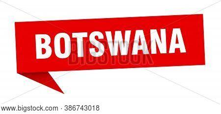 Botswana Sticker. Red Botswana Signpost Pointer Sign