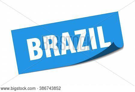 Brazil Sticker. Brazil Blue Square Peeler Sign