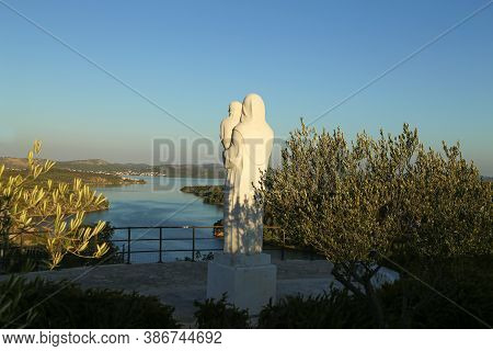Statue Of Mary, Mother Of God At The Mouth Of The Krka River