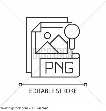 Png File Pixel Perfect Linear Icon. Portable Graphics Format. Lossless Data Compression Format. Thin