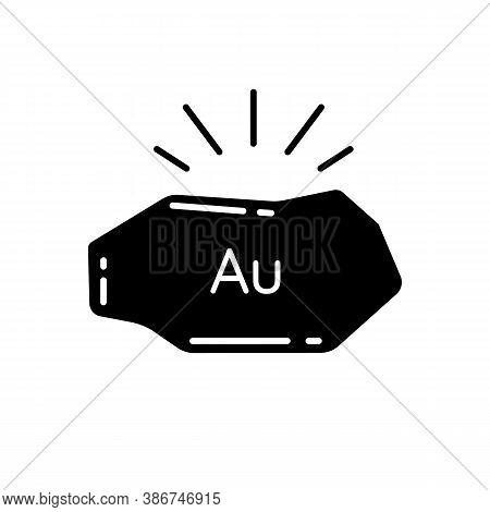 Golden Nugget Black Glyph Icon. Mineral Commodity For Trading. Gold Ore. Precious Metal. Metallurgy