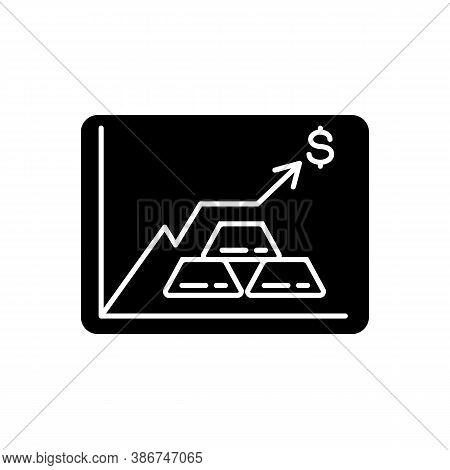 Precious Metals Price Black Glyph Icon. Money Investment. Bullion Trade. Rise In Value. Growth In Co