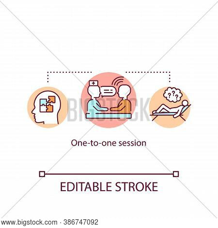 One To One Session Concept Icon. Private Psychological Counseling Idea Thin Line Illustration. Profe