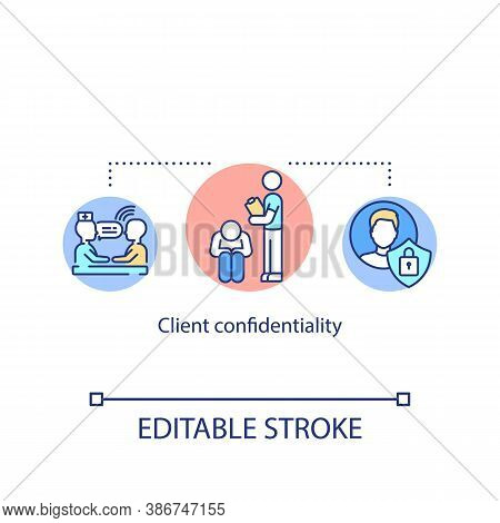 Client Confidentiality Concept Icon. Private Psychological Counseling. Medical Secrecy Idea Thin Lin