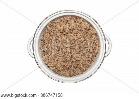 Ready-made Buckwheat Porridge.background Of Rich Buckwheat Porridge.