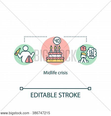 Midlife Crisis Concept Icon. Psychological Problem, Depression Idea Thin Line Illustration. Fear Of