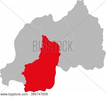 Southern Province Isolated On Rwanda Map. Gray Background. Business Concepts And Backgrounds.