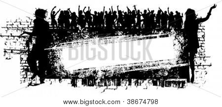 Vector grunge music background with people silhouette