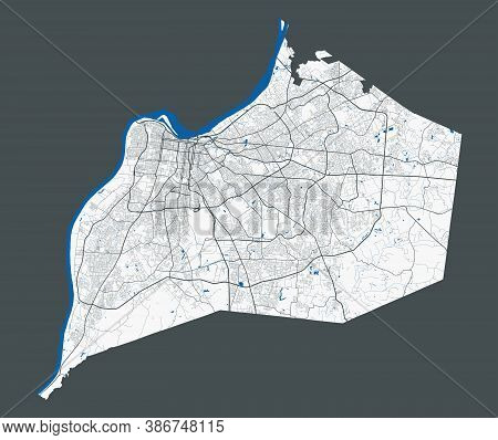 Memphis Map. Detailed Map Of Memphis City Administrative Area. Cityscape Panorama. Royalty Free Vect