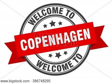 Copenhagen Stamp. Welcome To Copenhagen Red Sign