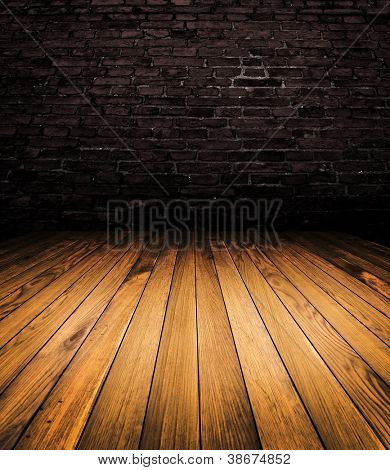 Old wood brown room interior