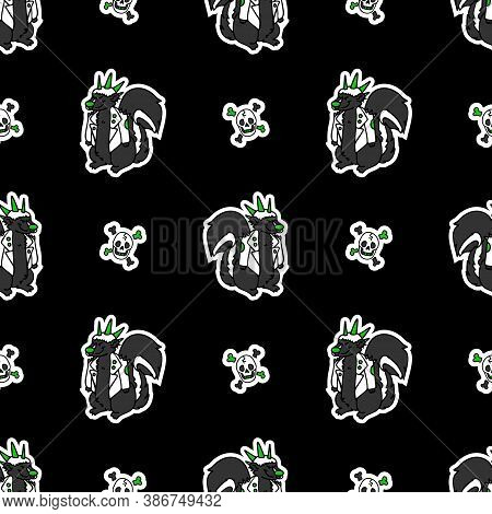Cute Punk Rock Skunk And Skull On Black Background Vector Pattern. Grungy Alternative Checkered Home