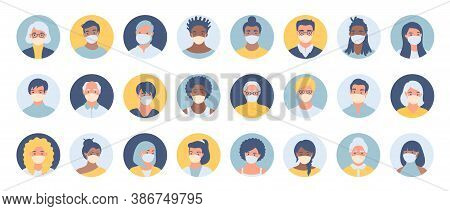Set Of Persons, Avatars, People Heads Of Different Ethnicity And Age In Protective Masks. Men And Wo