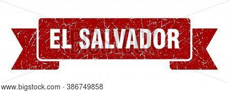 El Salvador Ribbon. Red El Salvador Grunge Band Sign