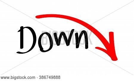 Down And Rising Arrow Handwritten, Arrow Green Pointing Down With Free Hand Write For Presentation I