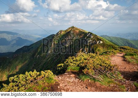 Top of Pip Ivan mountain in Maramures, Ukrainian Carpathians, on the border with Romania on summer time. Landscape photography