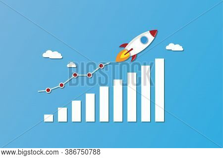 Rocket Fly On Chart. Business Financial Start Up Growth Success Concept On Blue Background