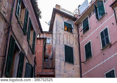 Monterosso Al Mare, Italy - July 8, 2017: View Of Traditional Old Buildings In Monterosso Al Mare Ol