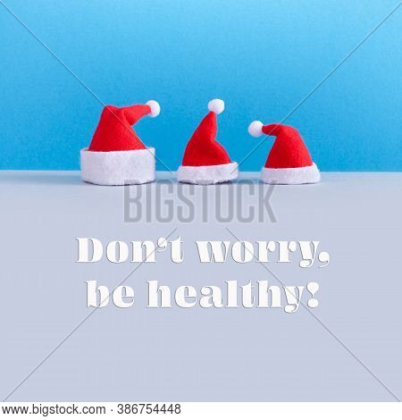 Minimal Design Christmas And New Year Festive Poster. Funny Kind Postcard With Santa Claus Hats On B
