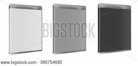 Blank Blu-ray Case White, Grey, Black. Illustration 3d Rendering. Isolated On White Background.