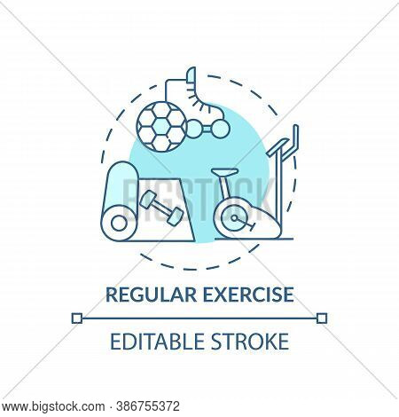 Regular Exercise Turquoise Concept Icon. Workout Routine. Cardio Training In Gym. Body Care For Bett