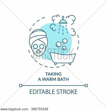 Taking Warm Bath Turquoise Concept Icon. Sleep Hygiene Improvement. Shower For Better Dream. Nightti