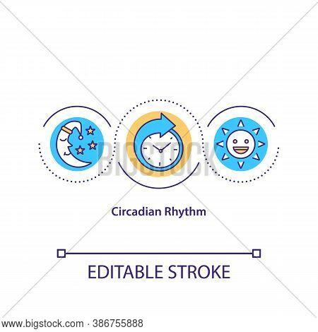 Circadian Rhythm Concept Icon. Daily Wake And Sleep Cycle, Biological Clock Idea Thin Line Illustrat