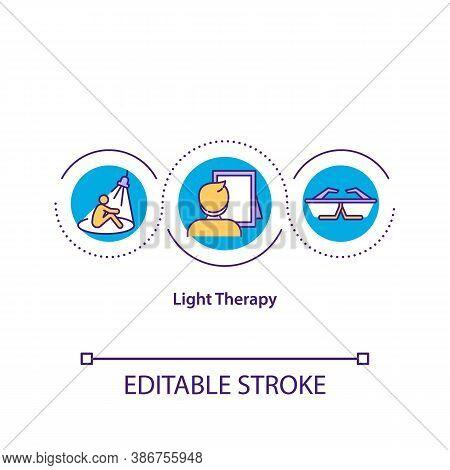 Light Therapy Concept Icon. Alternative Medicine Idea Thin Line Illustration. Insomnia, Seasonal Aff