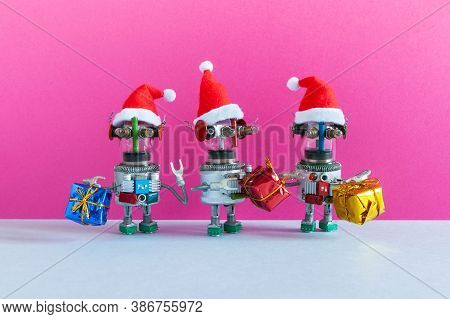 Funny Robots Santa Claus Characters With Gifts. Christmas New Year Party Greeting Card Template Robo