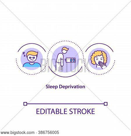 Sleep Deprivation Concept Icon. Lack Of Rest, Insomnia Idea Thin Line Illustration. Chronic Wearines