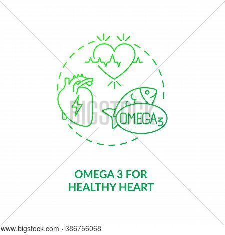 Omega 3 For Healthy Heart Concept Icon. Needed Supplement Idea Thin Line Illustration. Heart-healthy