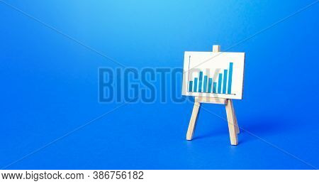 An Easel With A Positive Growth Chart. Minimalism. Concept Of Business Growth, Development, Achievin