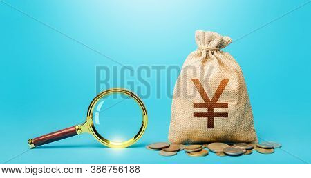 Yuan Yen Money Bag And Magnifying Glass. Revising The Budget To Save Money. Most Favorable Condition