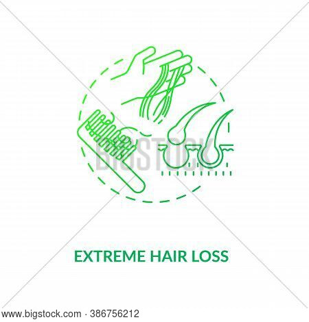 Extreme Hair Loss Concept Icon. Vitamin Shortages Symptom Idea Thin Line Illustration. Iron Deficien