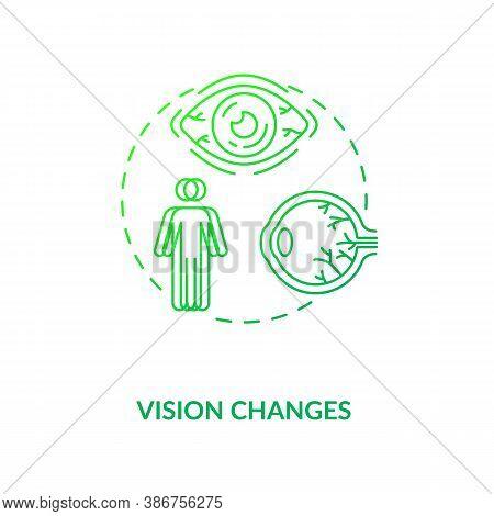 Vision Changes Concept Icon. Vitamin Shortages Symptom Idea Thin Line Illustration. Balanced Diet. E