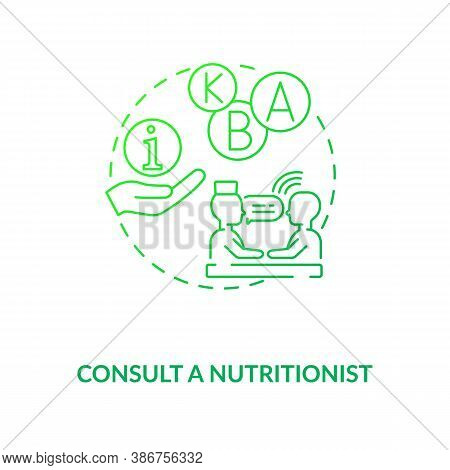 Consultation With Nutritionist Concept Icon. Adequate Vitamins Intake Idea Thin Line Illustration. D