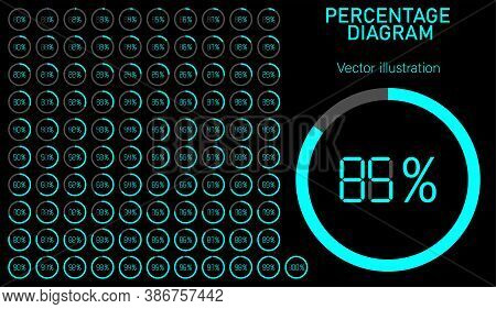 Set Of Pie Percentage Charts. Loading Circles With Percentage Dial Inside. Collection Of Loading Dia