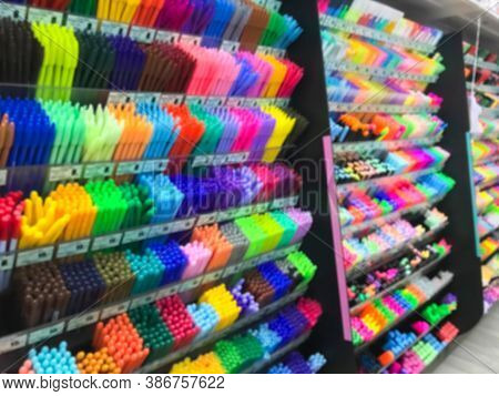 Blurred Of Stationery Shop With Many Accessories Such As Pen, Pencil, Eraser, Color, Correction Pen,
