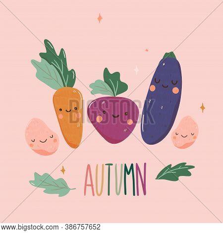 Kawaii Autumn Veg With Face And Smile Cartoon Style