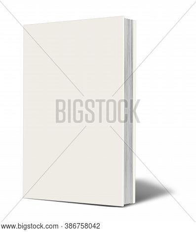 Blank White  Book Mockup With Shadow Isolated On White. Illustration 3d Rendering.