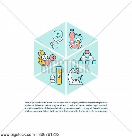 Dietology Guidelines Concept Icon With Text. Proper Nutrition And Intake Of Supplements. Ppt Page Ve