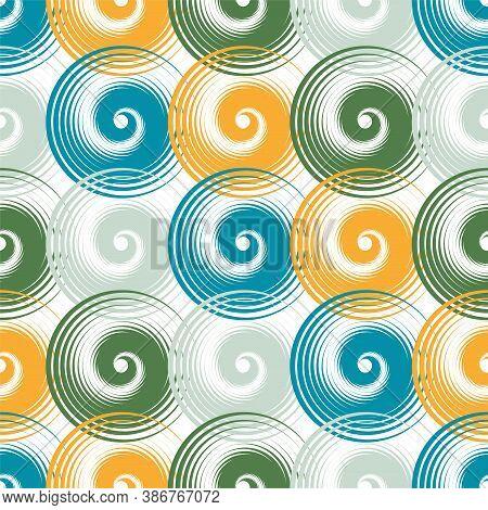 Spiral Swirls Doodle Seamless Pattern Vector Design. Round Spiral Scrolls, Circle Swirls Geometric E