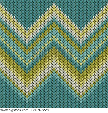 Material Zig Zal Lines Knitting Texture Geometric Seamless Pattern. Rug Knitwear Structure Imitation