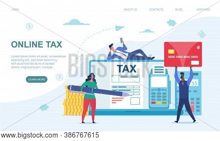 Online Tax Payment Concept. Tiny Multiracial Men And Woman Paying Taxes Using A Special Form On The