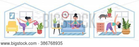 Set Of Girls. Bundle Of Women Doing Yoga, Stay At Home. Exercises For Health, Posture, Relaxation, M
