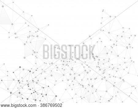 Geometric Plexus Structure Cybernetic Concept. Network Nodes Greyscale Plexus Background. Linked Dot