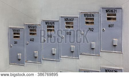 electricity meters in an apartment building