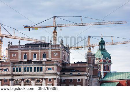 construction cranes in Stockholm, Sweden