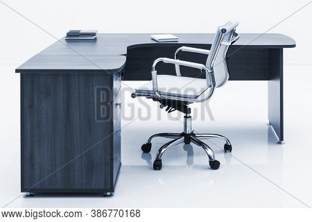 wood table and leather armchair on a white wall