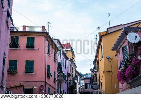Monterosso Al Mare, Italy - July 8, 2017: View Of Traditional Colorful Houses In Monterosso Al Mare